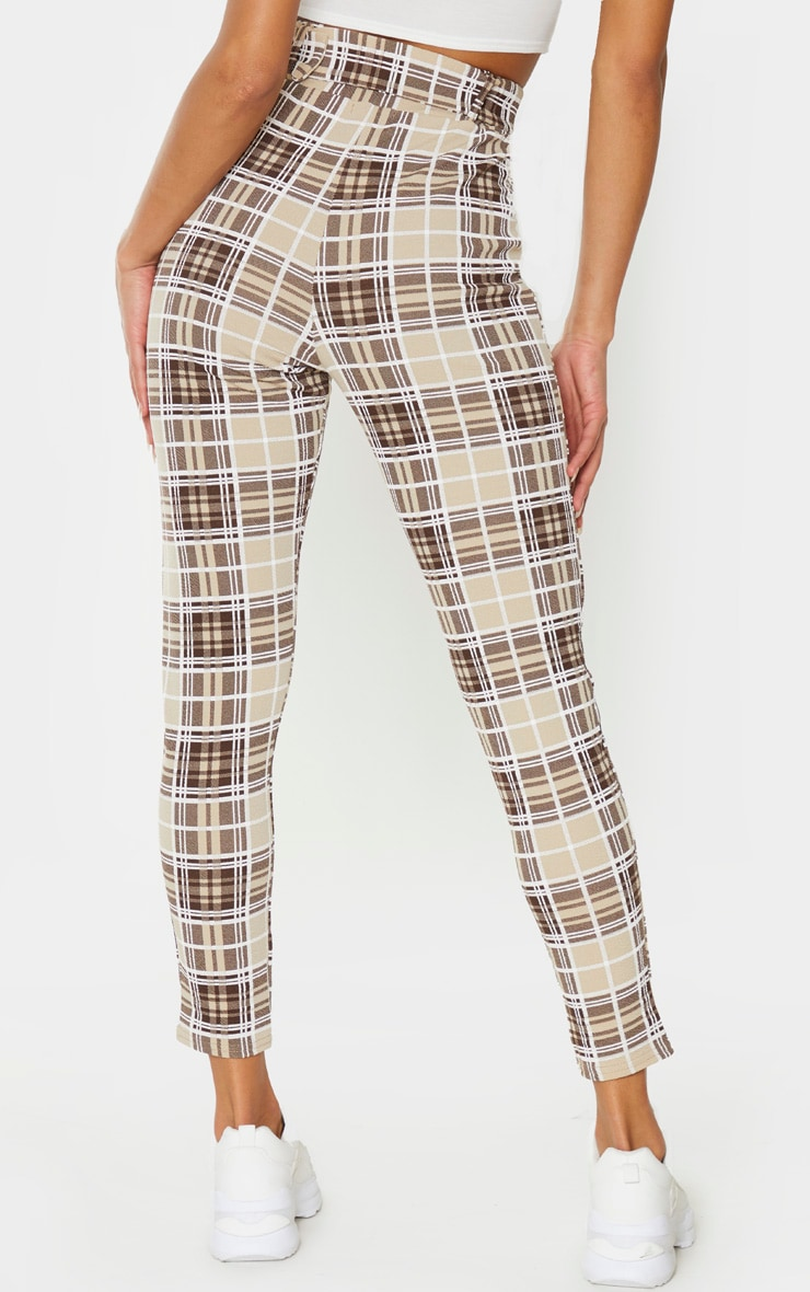Stone Check Belted Skinny Trousers 3