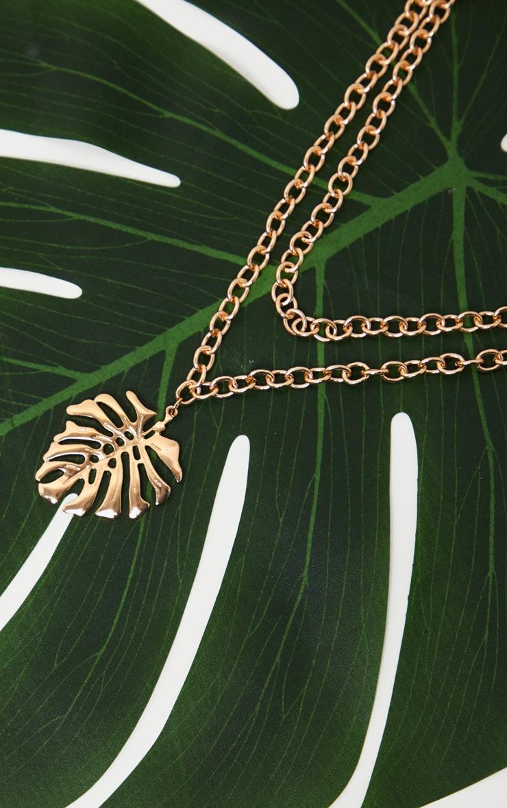 Gold Leaf Pendant Necklace 3