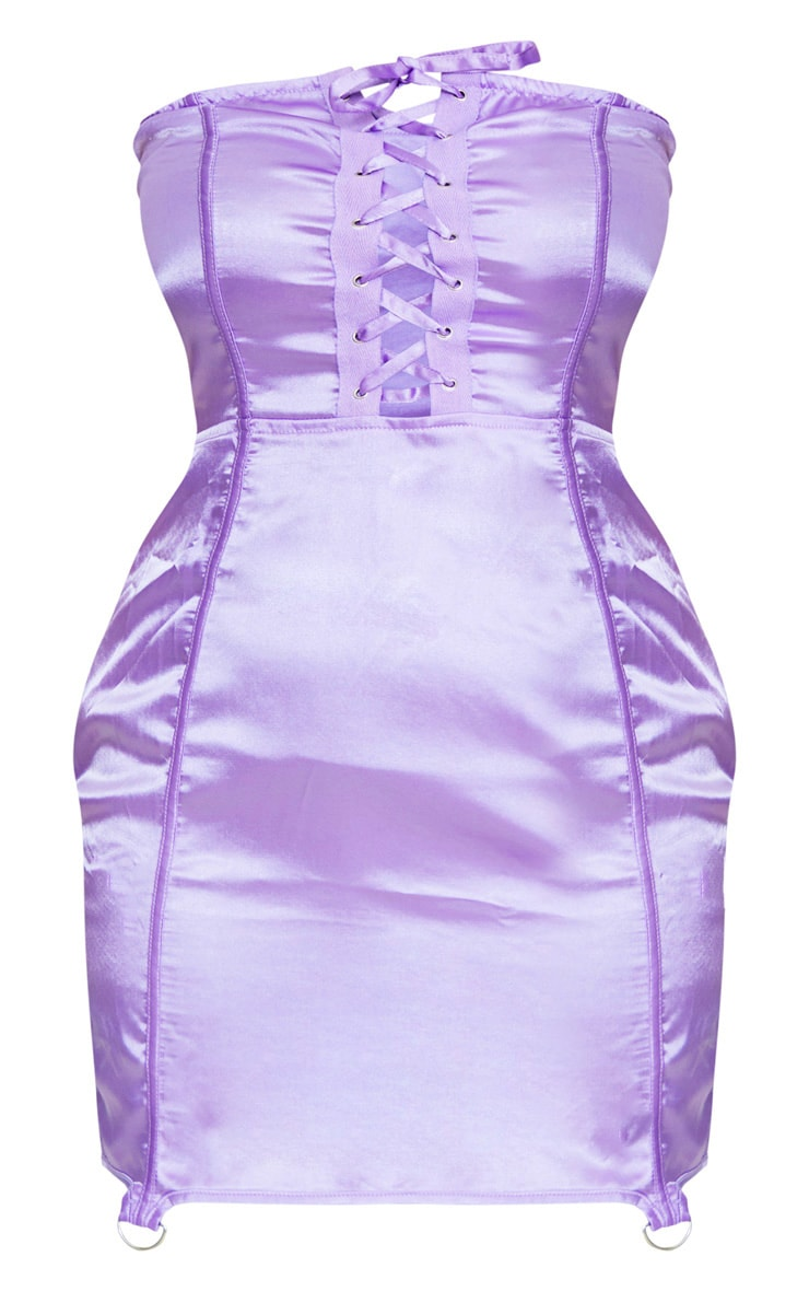 Plus Lilac Satin Lace Up Detail Bandeau Bodycon Dress 4