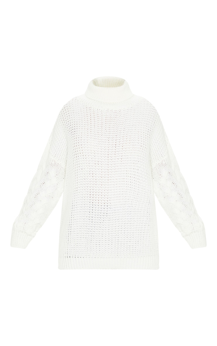 Ivory Chunky Knitted Cable Sleeve Jumper 3