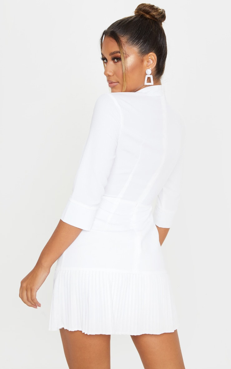 White Pleated Detail Frill Hem Bodycon Dress 3