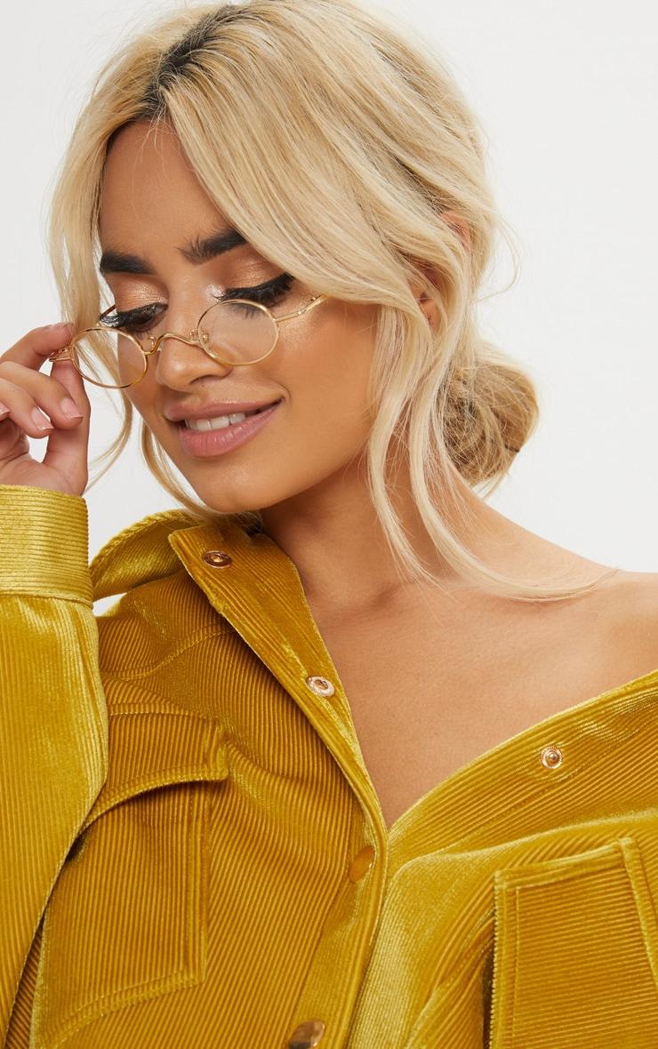 Gold Frame Black Lens Small Oval Flip Sunglasses 2