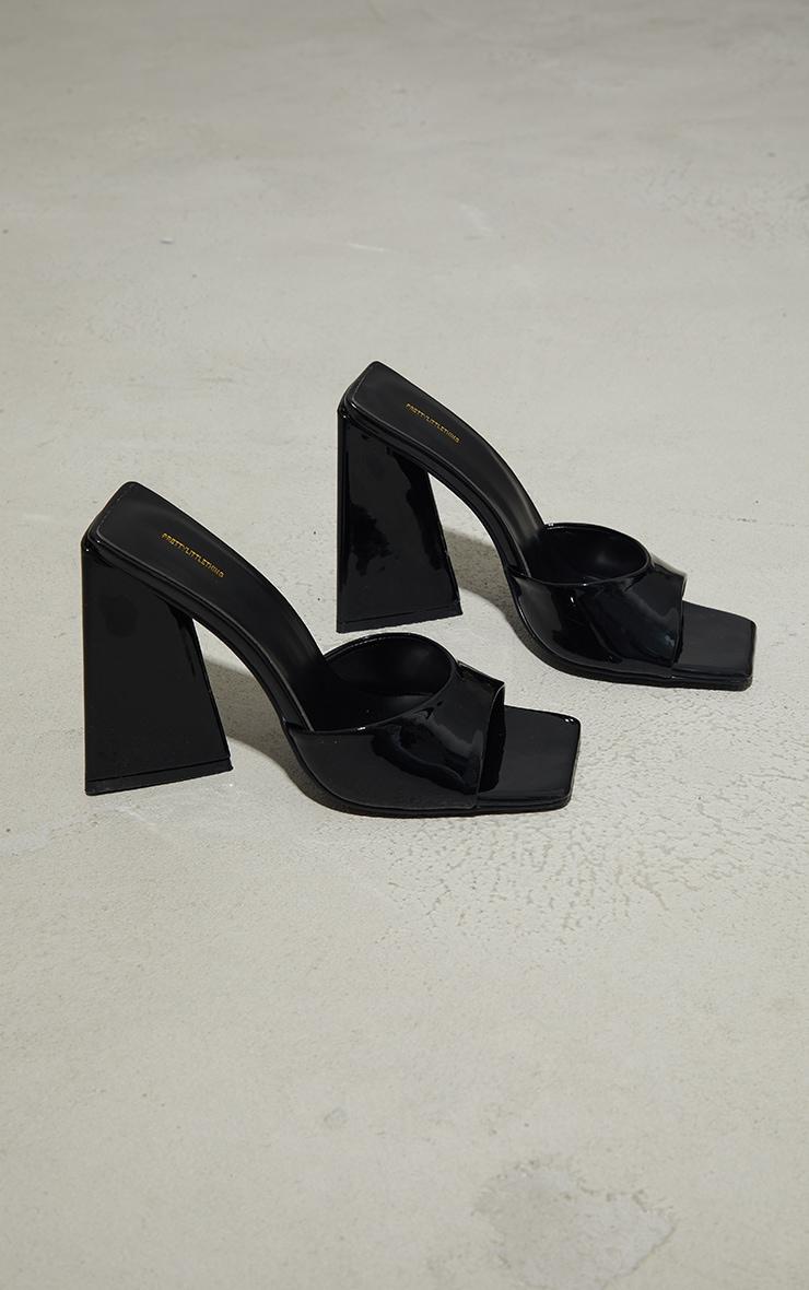 Black Patent Triangle High Block Heel Mules 3