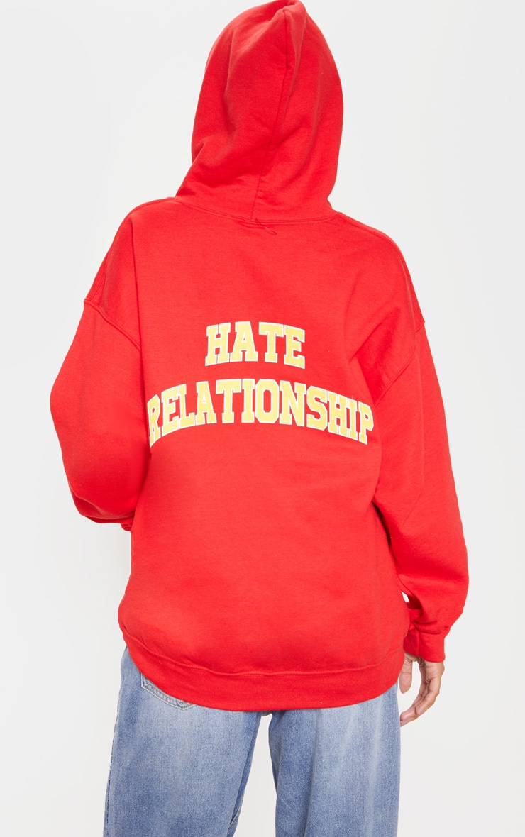 Red Love Hate Slogan Oversized Hoodie 2