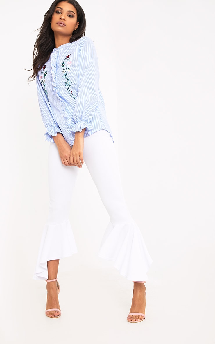 Linette Blue Embroidered Stripe Shirt 4