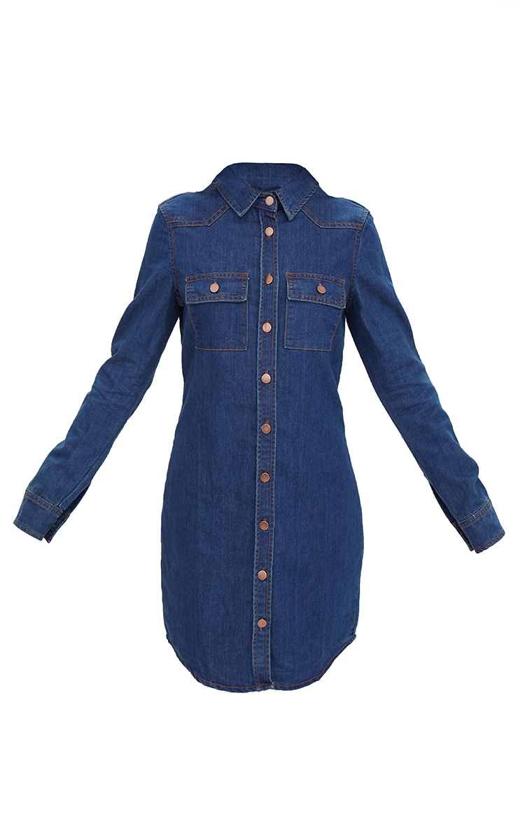 Dark Wash Button Up Denim Shirt Dress 3