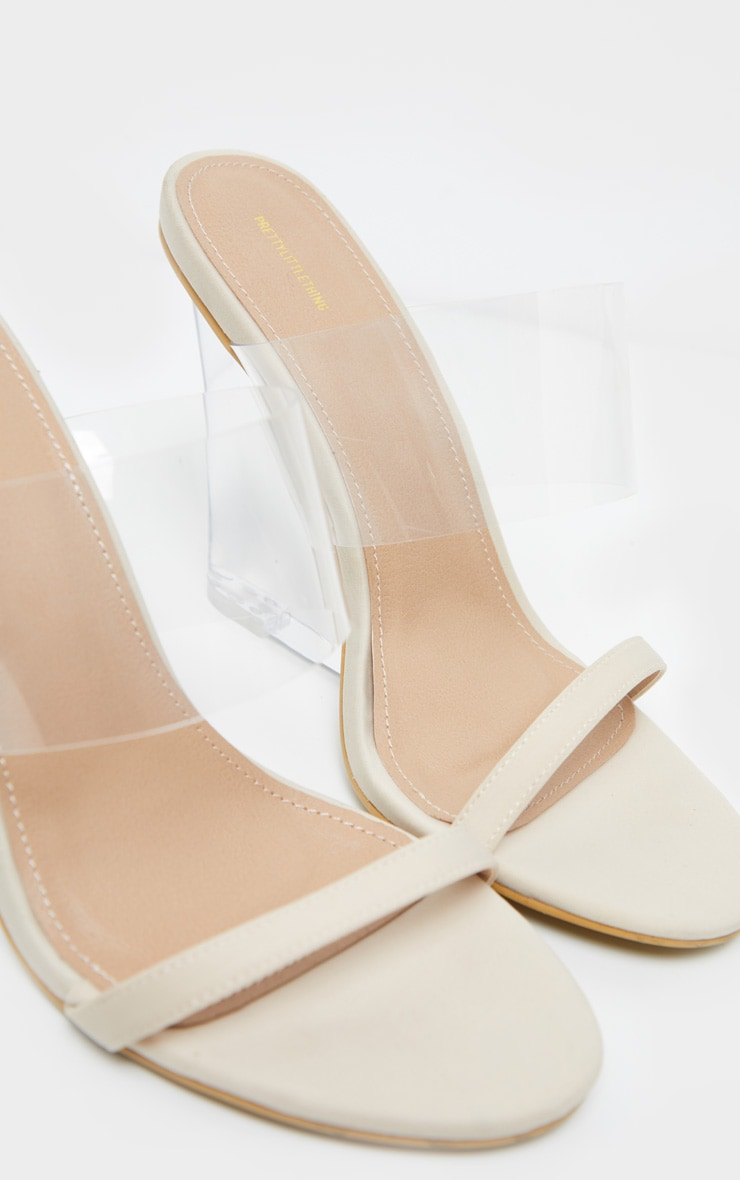 Nude Clear Wedge Mule Sandal 4
