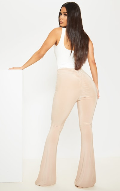 Stone Flare Ruched Bum Slinky Trousers