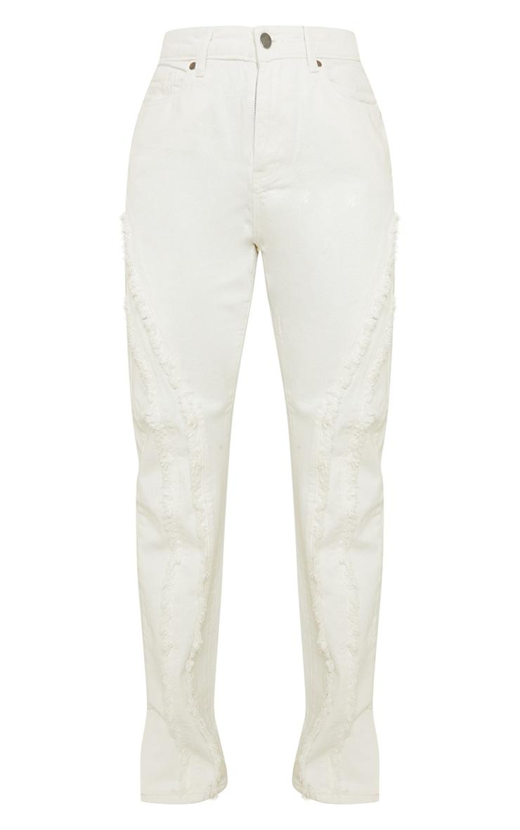 White Fray Detail Split Hem Jeans 5