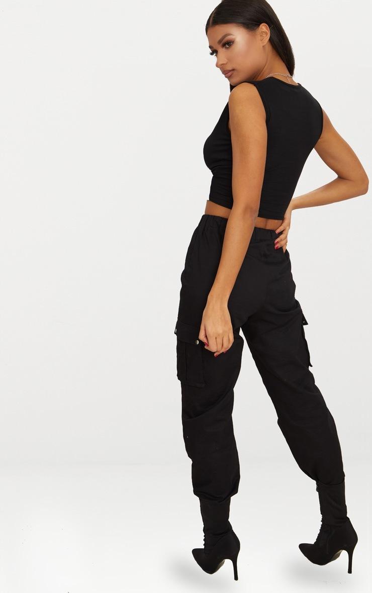 Monochrome Contrast Wrap front Crop Vest  2