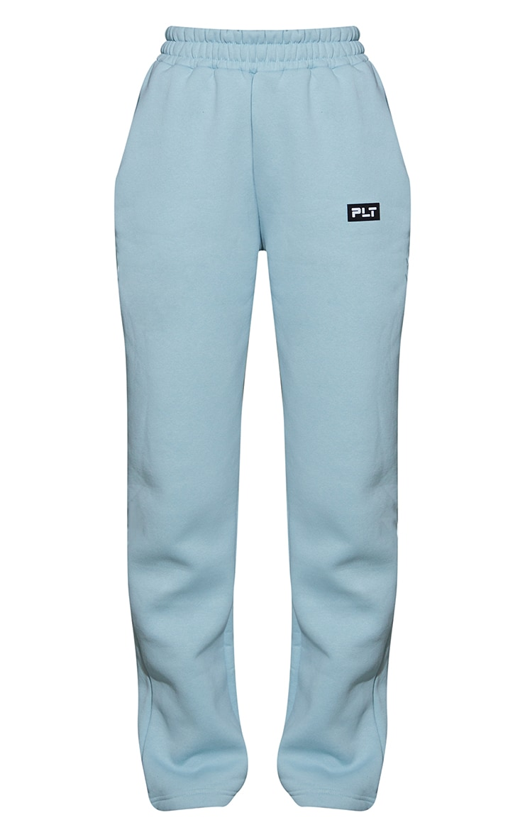 PRETTYLITTLETHING Sage Blue Badge Detail Straight Leg Joggers 5