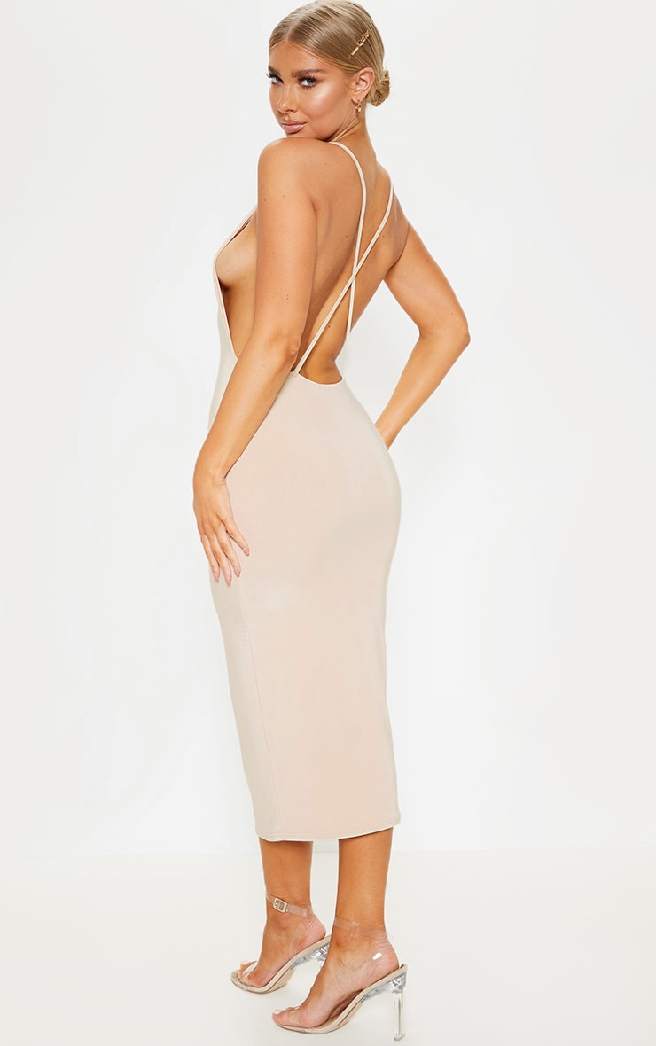 Nude Strappy Slinky Cross Back Midi Dress 1