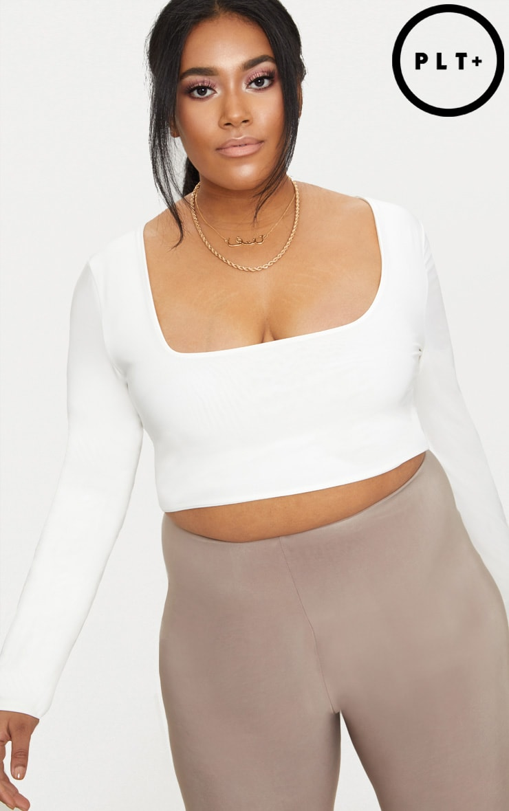 Plus White  Second Skin Square Neck Long Sleeve Crop Top 1