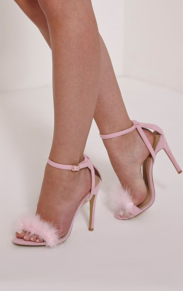 Gina Baby Pink Faux Suede Fluffy Heels Prettylittlething