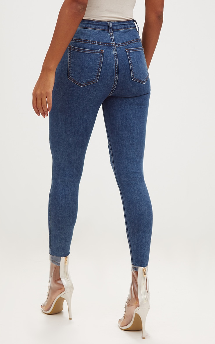 Dark Wash Open Knee Rip Skinny Jean 3
