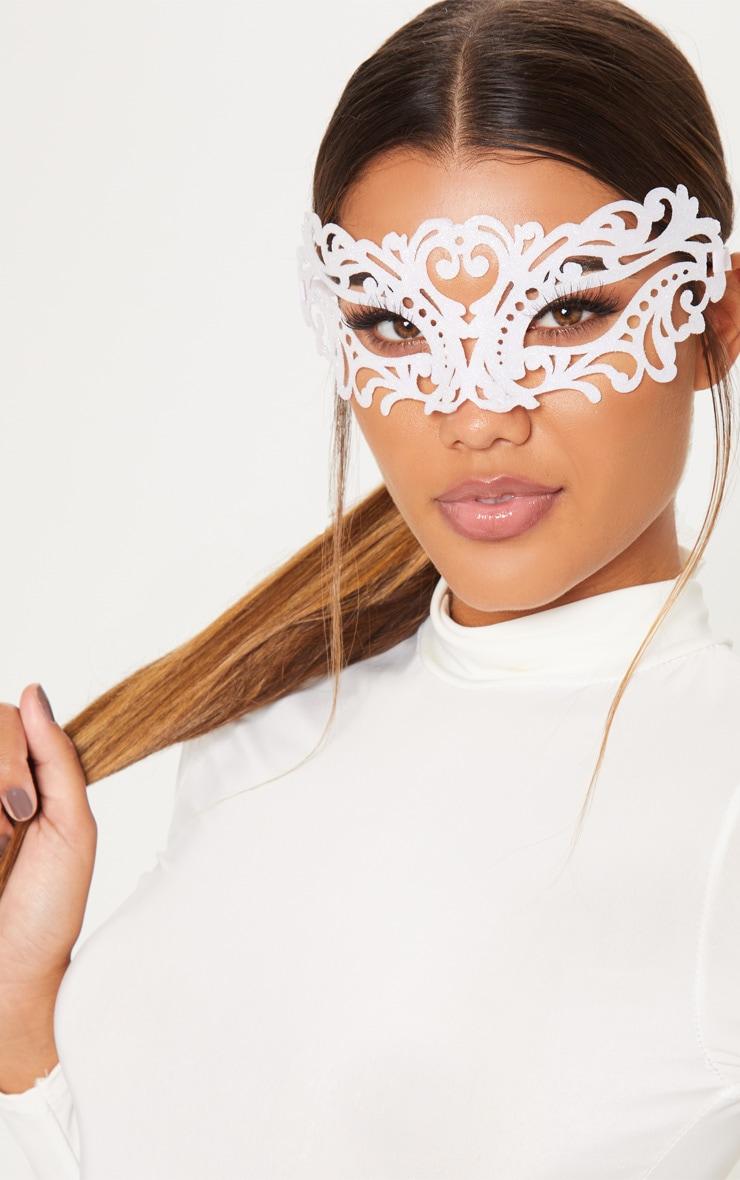 White GlitterLace Effect Mask