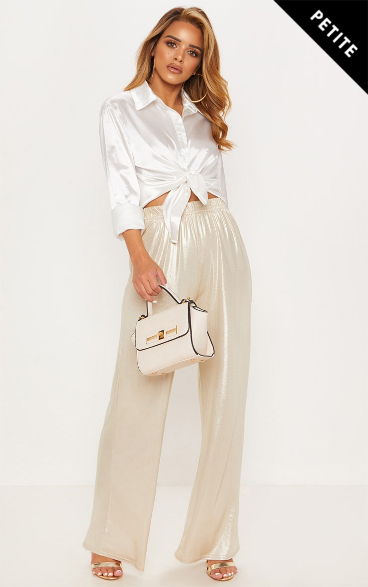 Petite Gold Metallic Wide Leg Trouser