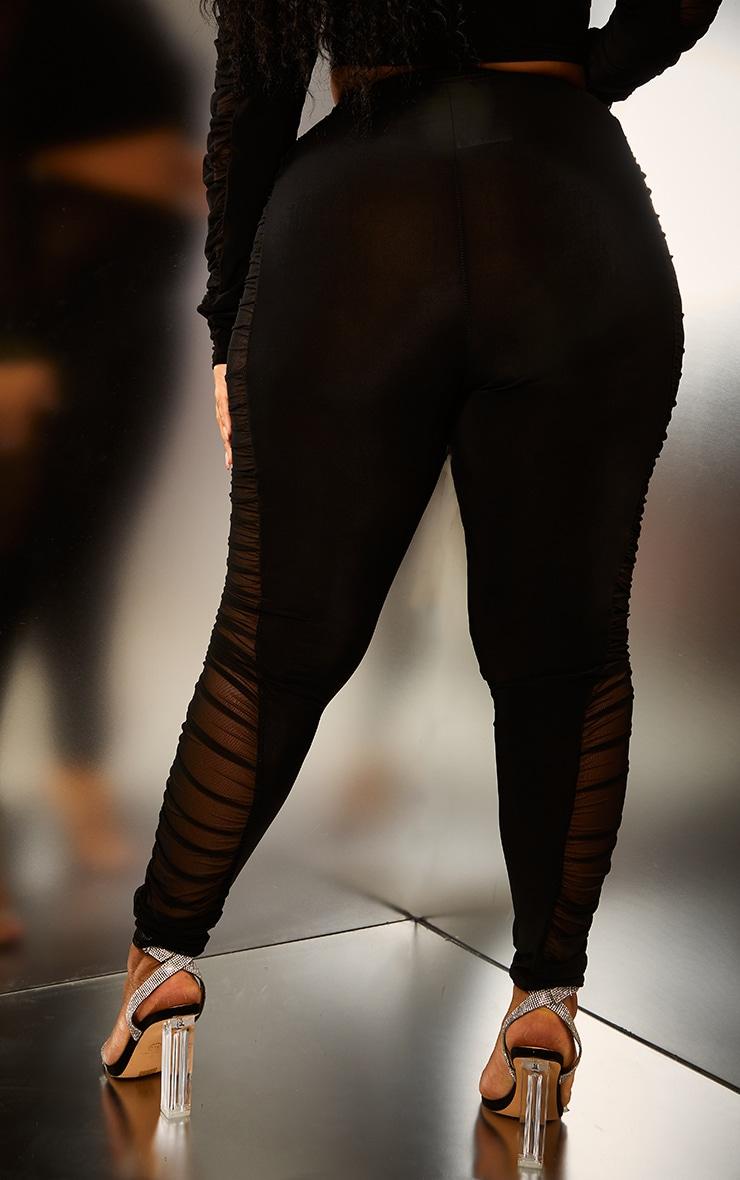 Plus Black Mesh Side Panel Leggings 3