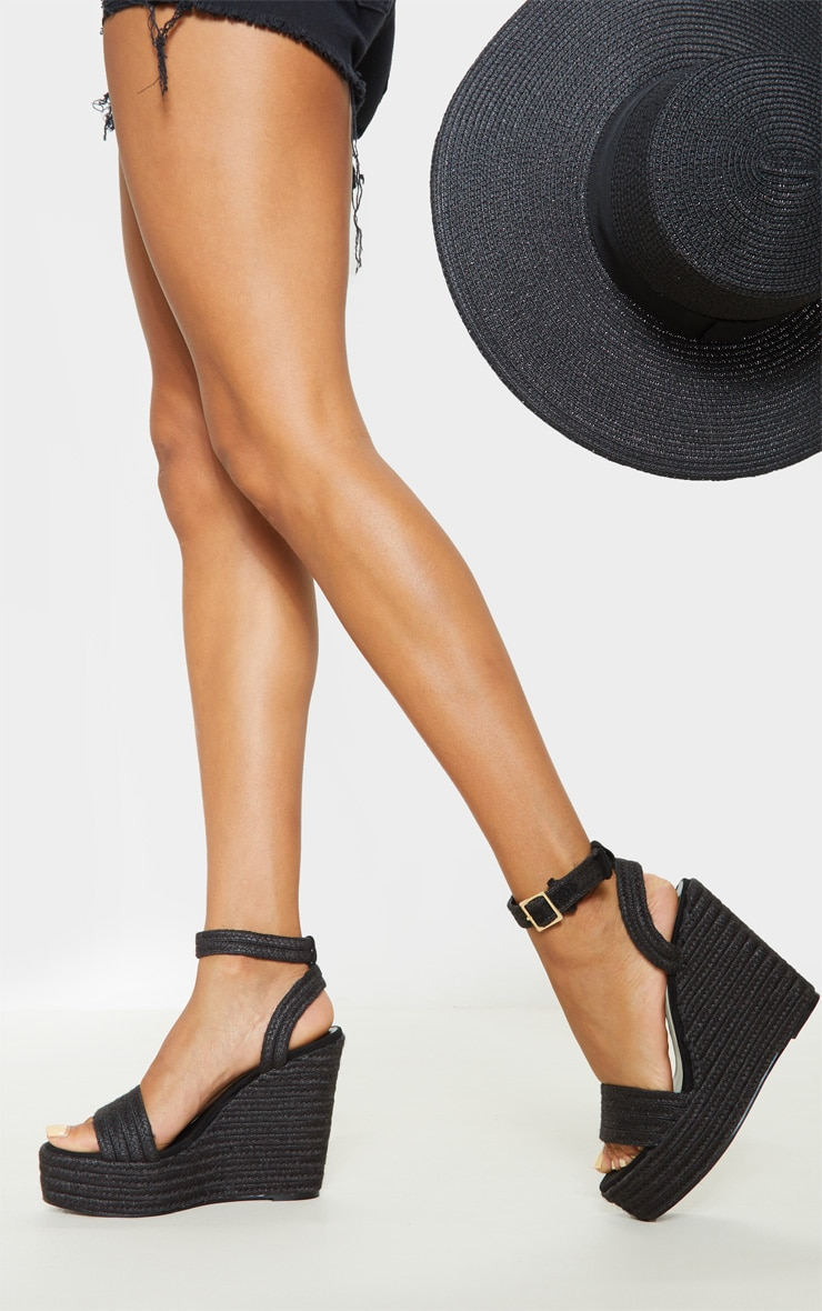 Black Espadrille Wedge Sandal 1