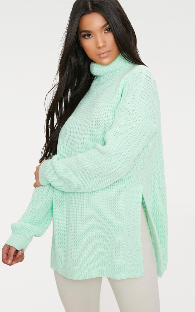 Mint High Neck Oversized Jumper 1
