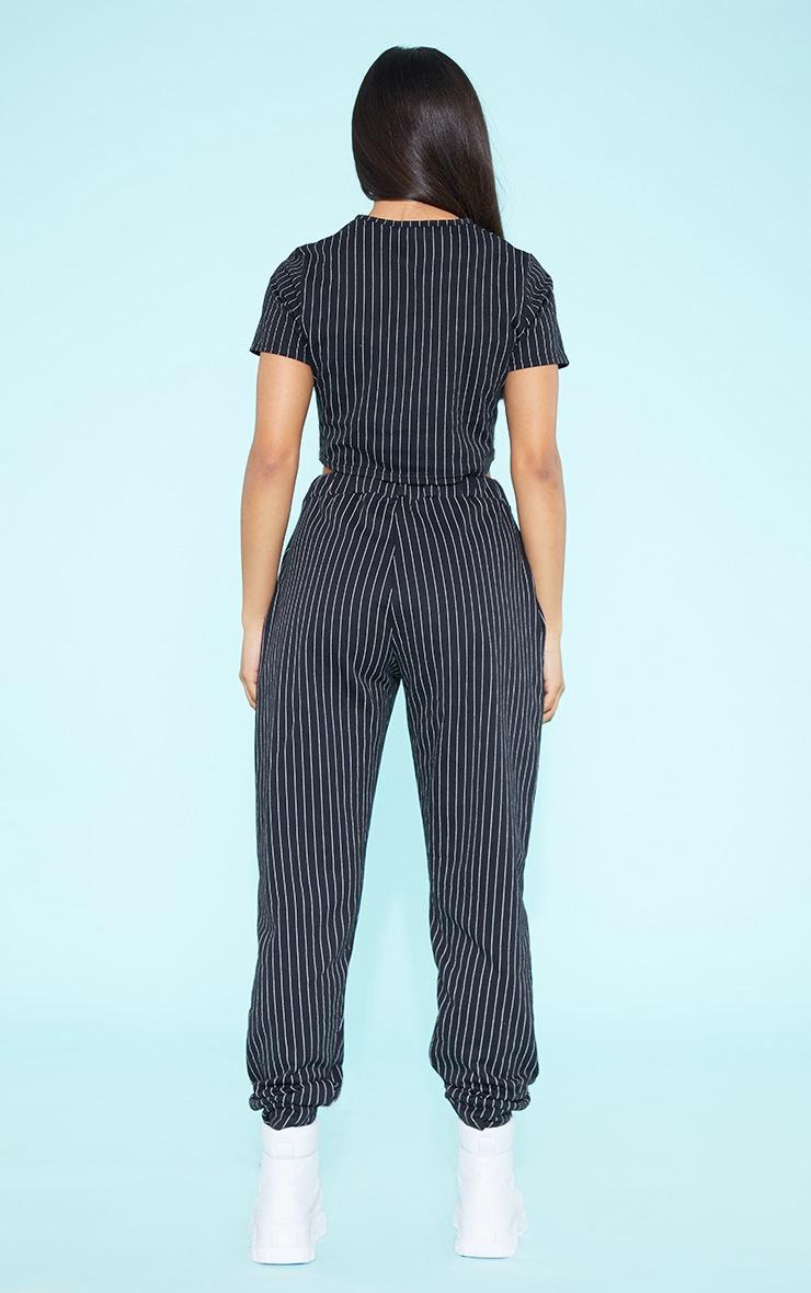 RECYCLED Pinstripe Crop T Shirt Black  5