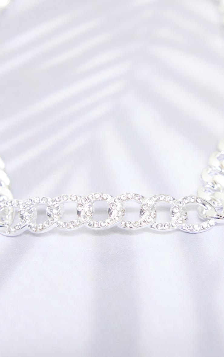 Silver Diamante Link Chain Choker 4