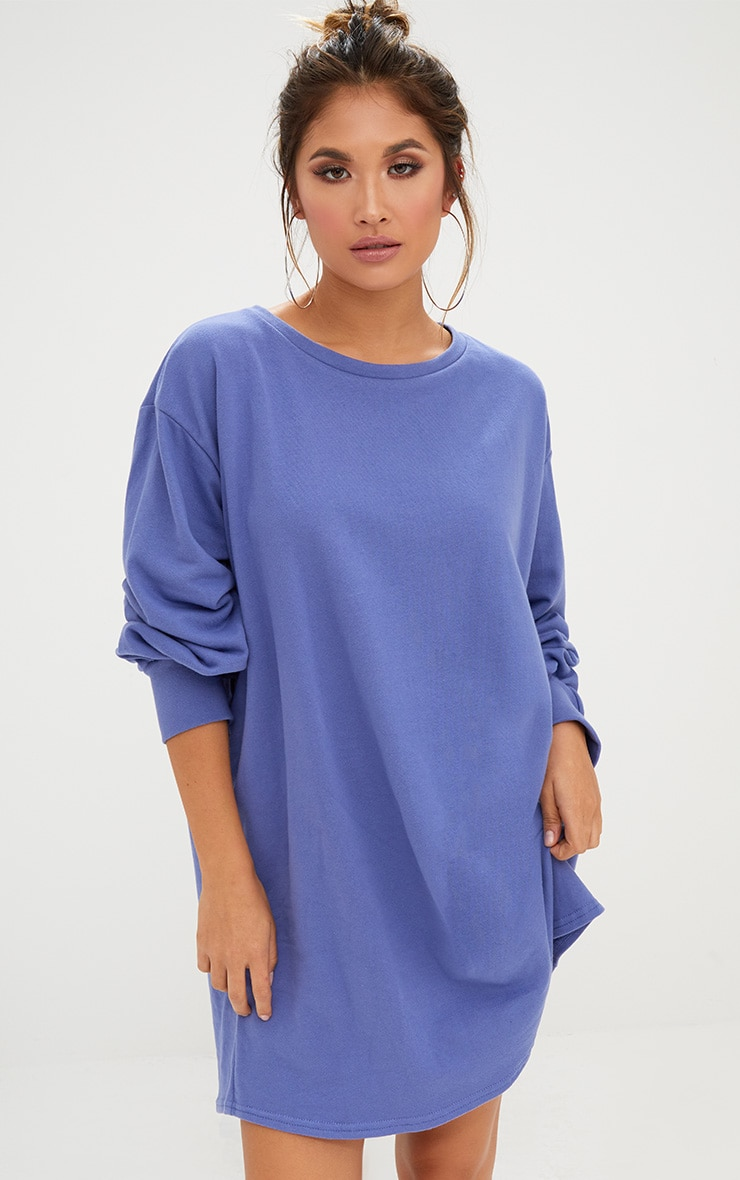 Blue Oversized Sweater Dress 1
