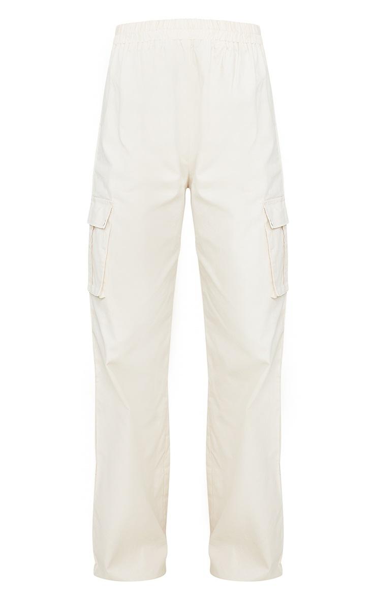 Cream Wide Leg Cargo Pants 5