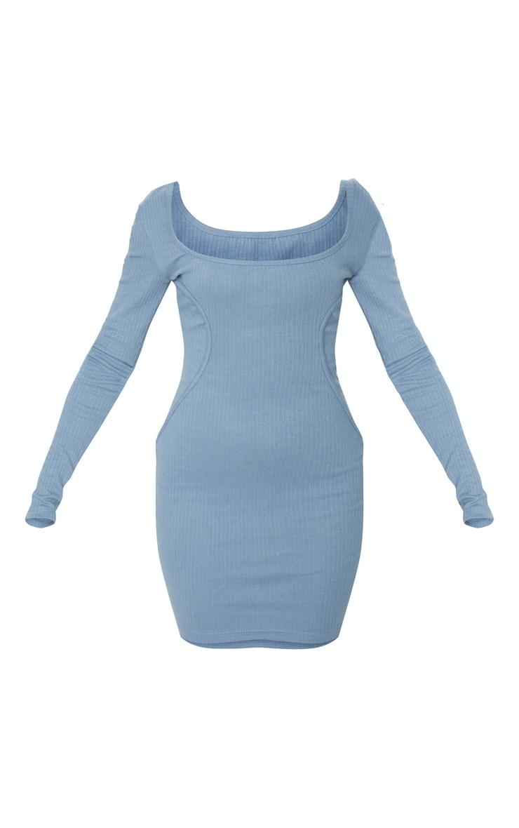 Blue Thick Rib Square Neck Long Sleeve Binding Detail Bodycon Dress 5
