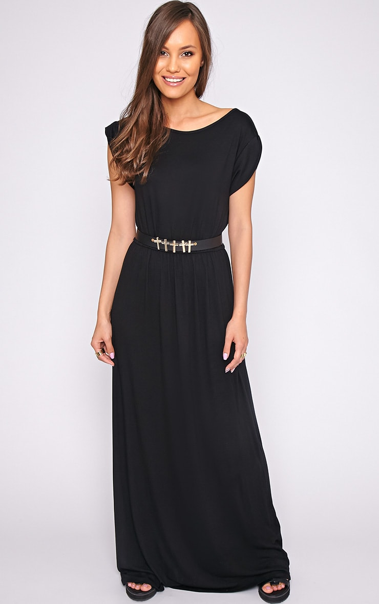 Liberty Black Tshirt Maxi Dress 1