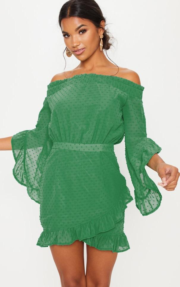 Bright Green Spotty Mesh Bardot Frill Detail Bodycon Dress by Prettylittlething