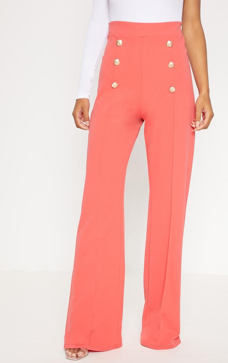 Coral Button Front Wide Leg Trouser 2