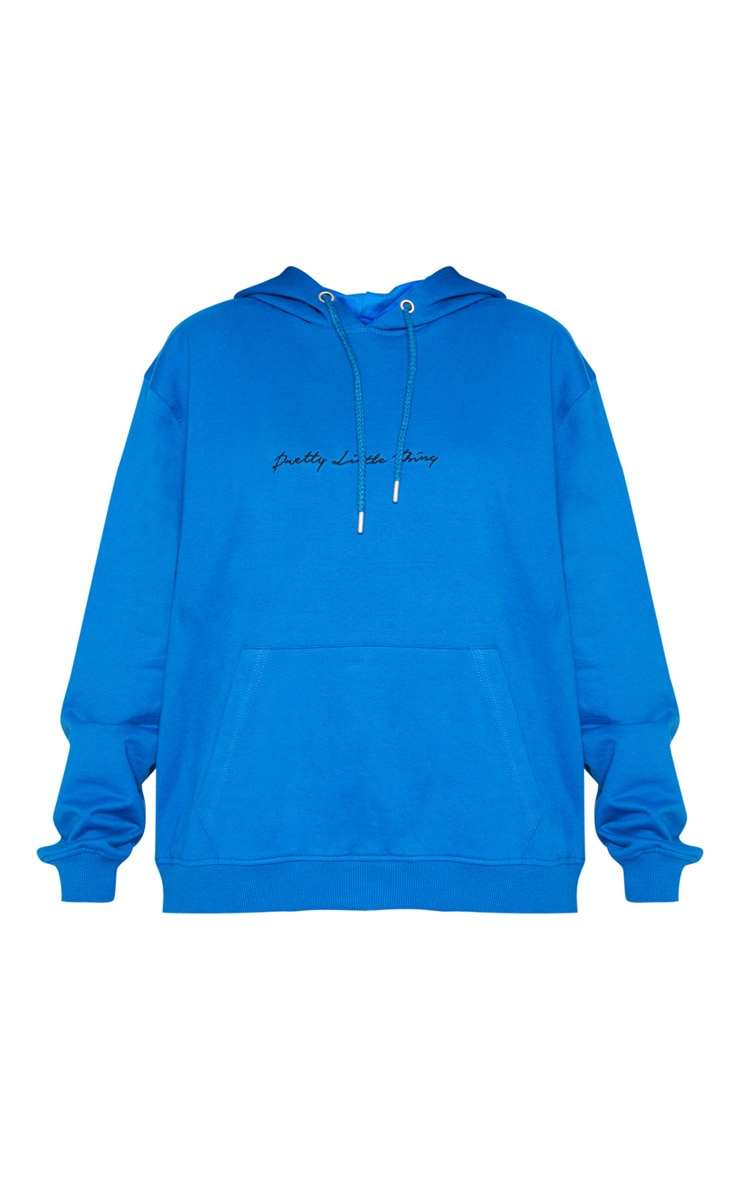 PRETTYLITTLETHING Cobalt Embroidered Oversized Hoodie 3