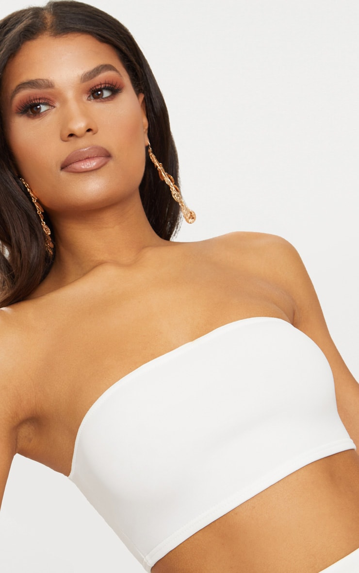 White Scuba Bandeau Crop Top 6