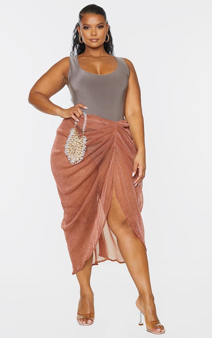 Plus Brown Sheer Glitter Ruched Midi Skirt 1