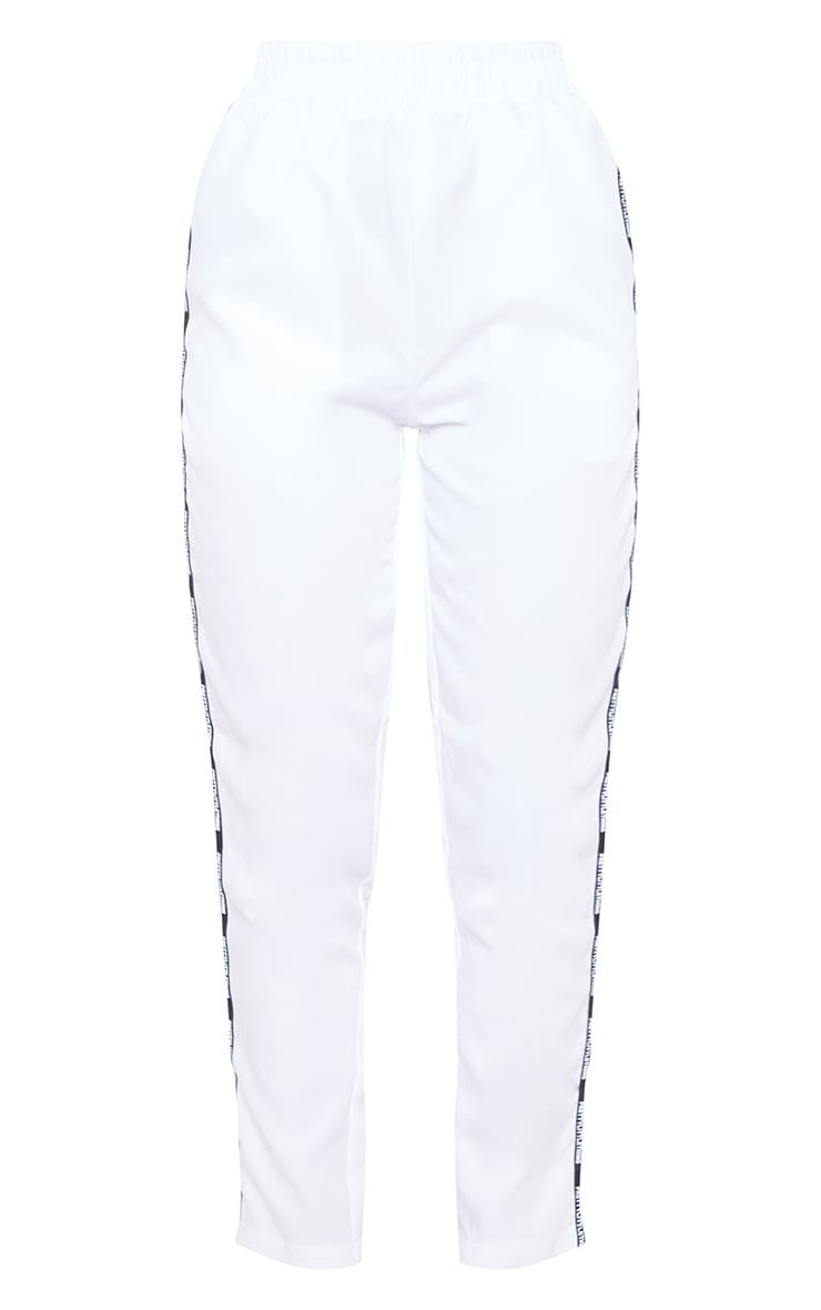 PRETTYLITTLETHING White Stripe Track Pants 3