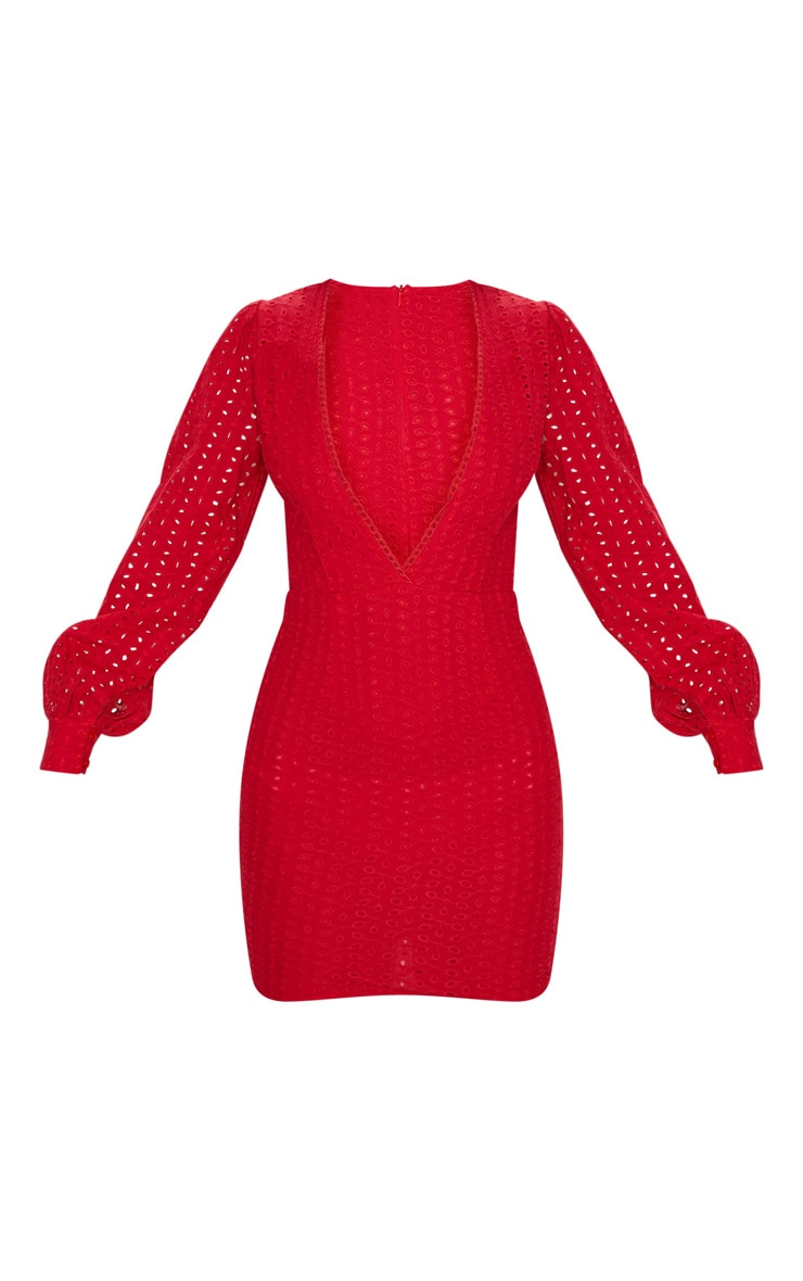 Red Crochet Lace Puff Sleeve Bodycon Dress 3