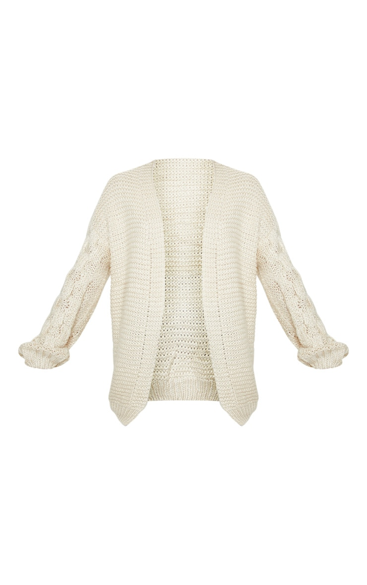 Cream Contrast Knit Cardigan 3
