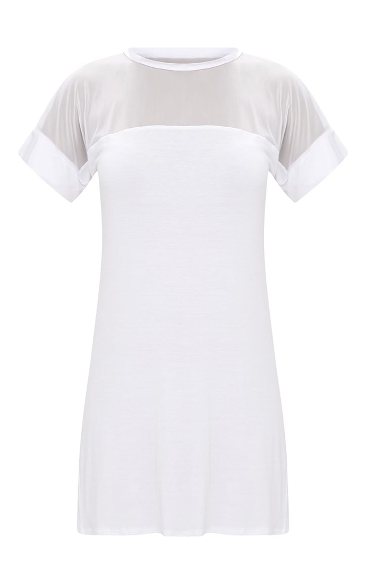 White Jersey & Mesh T Shirt Dress 3