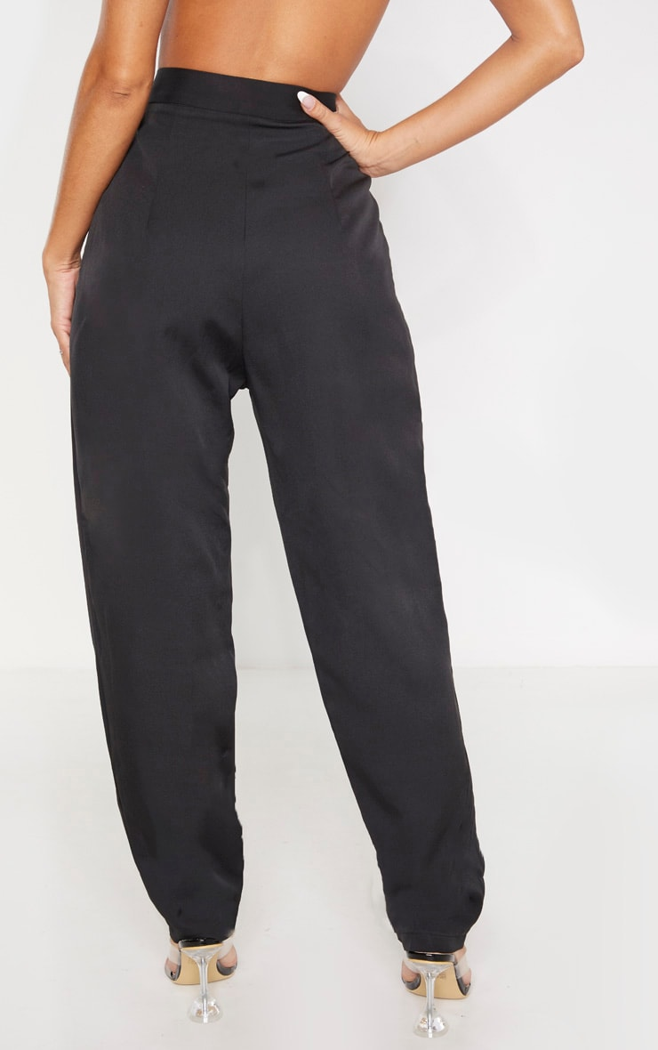 Black Tapered Button Front Pants 4