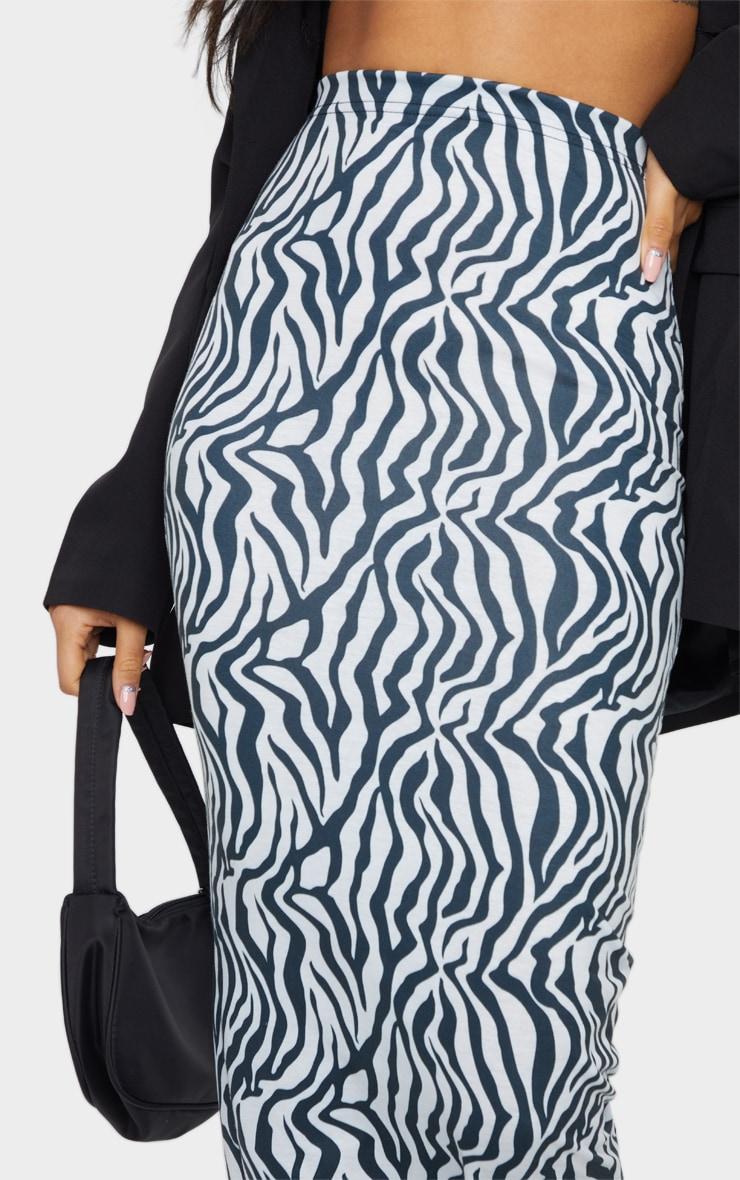 Monochrome Zebra Print Midaxi Skirt 4