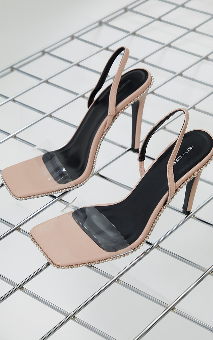 Nude Clear Strap Studded High Heels 3