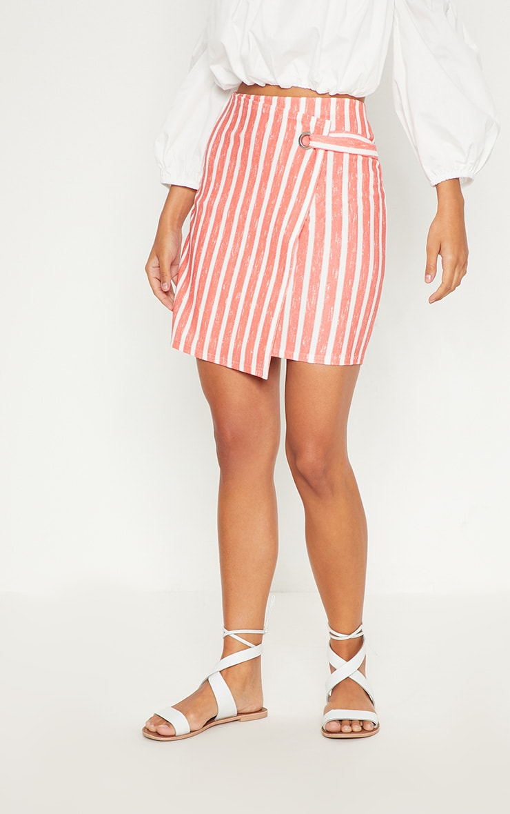 Red Wrap Over Front Stripe Skirt 2