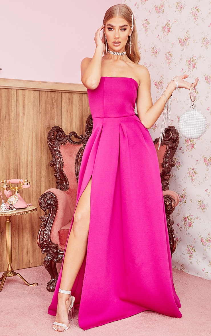 Hot Pink Scuba Bandeau Maxi Dress