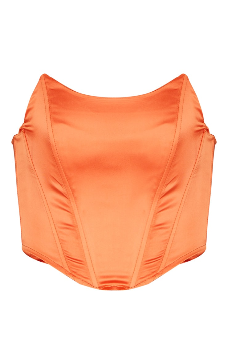 Orange Satin Pointed Hem Bandeau Corset 3