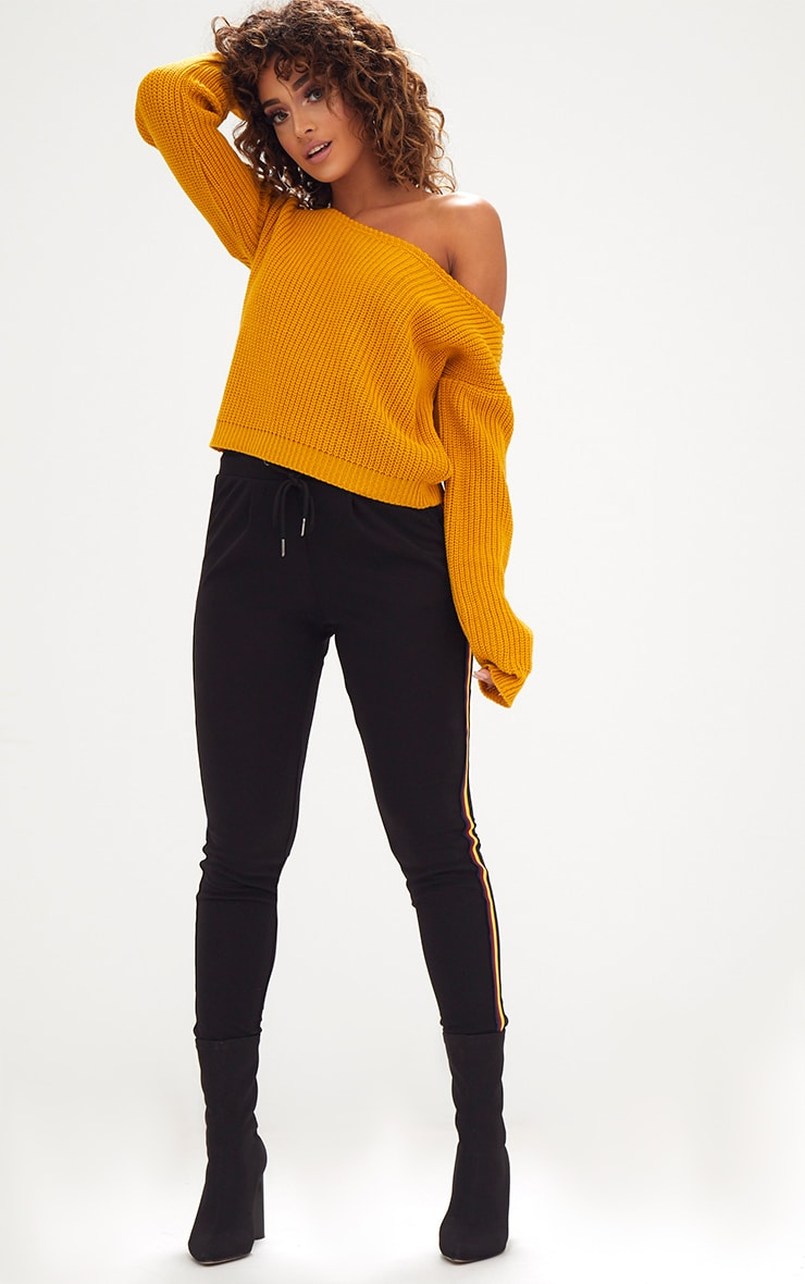 Mustard Off Shoulder Knitted Crop Sweater 4