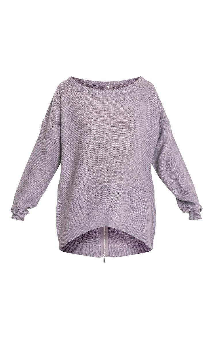 Trisha pull gris tricoté à fermeture Éclair au dos 3