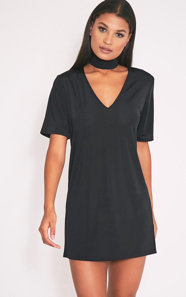 Nyla Black Slinky V Neck T Shirt Dress 1