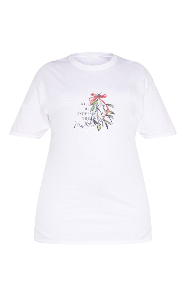 Plus White Kiss Me Under The Mistletoe Slogan T-Shirt 3