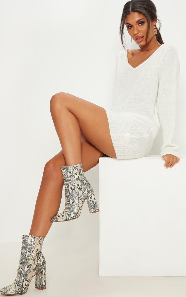 Teylie Cream Soft Knitted Off Shoulder Mini Dress 2